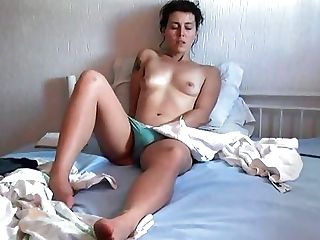 80s Gal Senses Horny And Strokes Her Hairy Cooter Before Masturbating