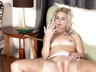 Blonde Honey Aston Wilde In Just Garters Nylons Frigs Sweet Succulent Cooter