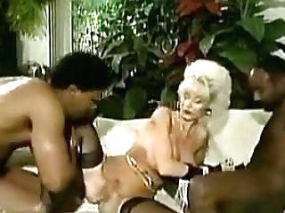Antique Huge-boobed Platinum Platinum-blonde With Two Big Black Cock Facial Cumshot
