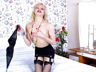 Horny April Paisley Wanks With Pink Fuckfest Gear In Retro Nylons Garters Stilettos