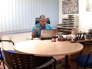 Two Old Guys Fuck Teenager With Glasses At Office - German Retro