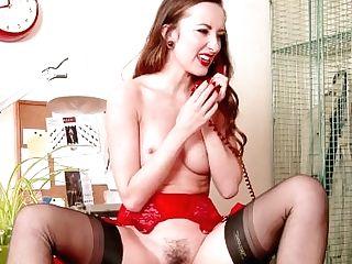 Dark Haired Sophia Smith On Phone In Stylish Retro Underwear Nylons High Stilettos